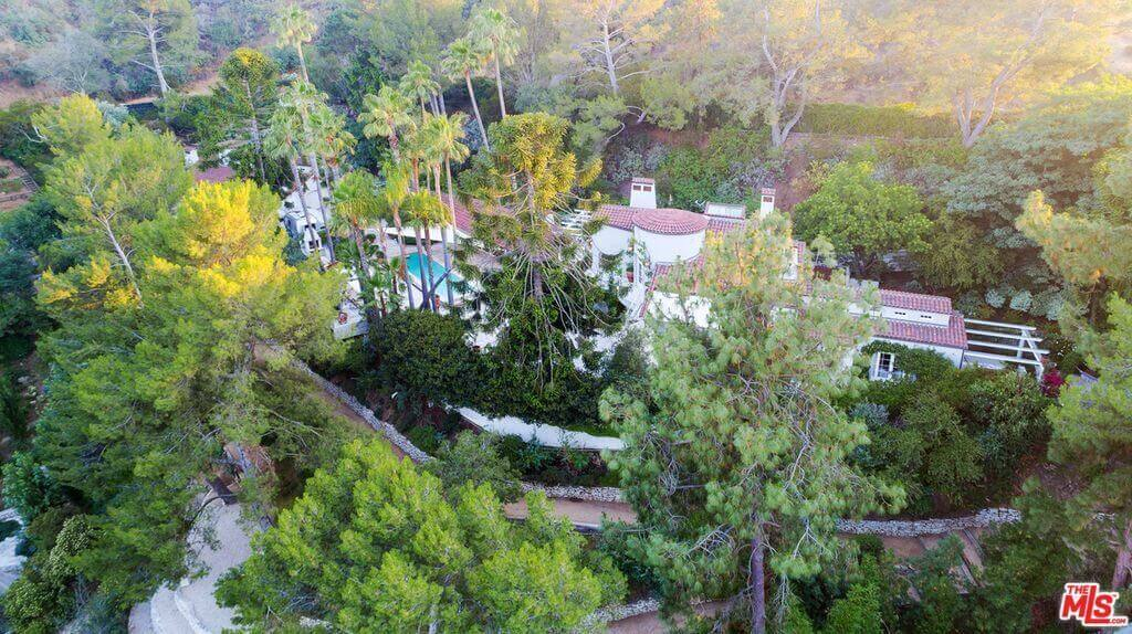 Katy Perry house aerial view on Mulholland
